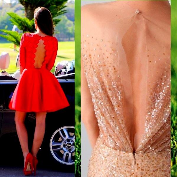 на фото платья с открытой спиной