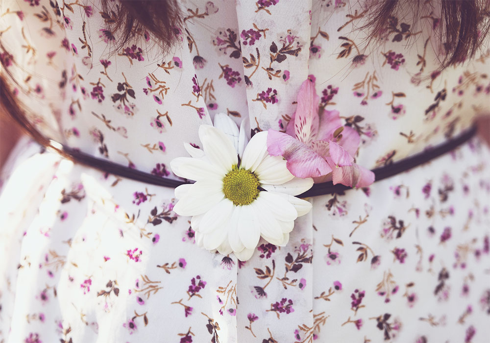 платье в мелкий цветочный принт