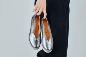 серебристые балетки