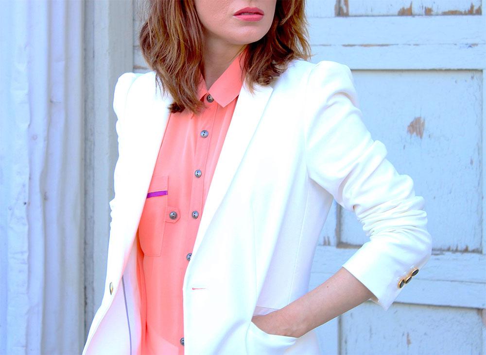 стильный белый пиджак